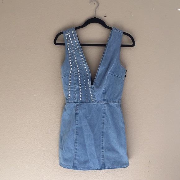 9612f052a4 Understated leather X REVOLVE denim dress. M 5b3d61342e147800ce2dac3d